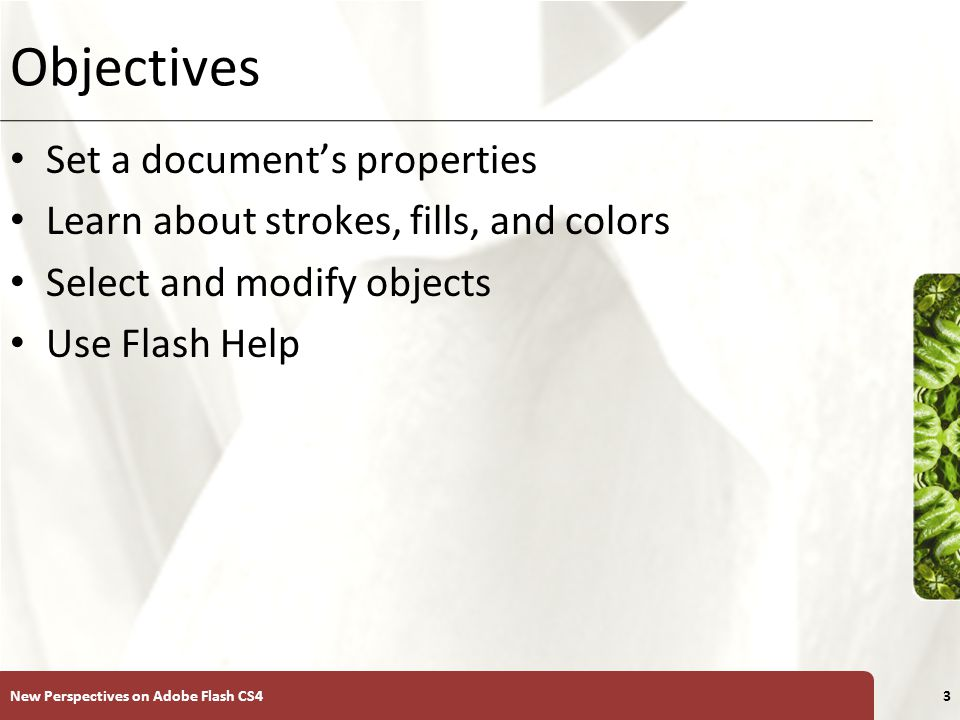 XP Objectives Set a document's properties Learn about strokes, fills, and colors Select and modify objects Use Flash Help New Perspectives on Adobe Flash CS43