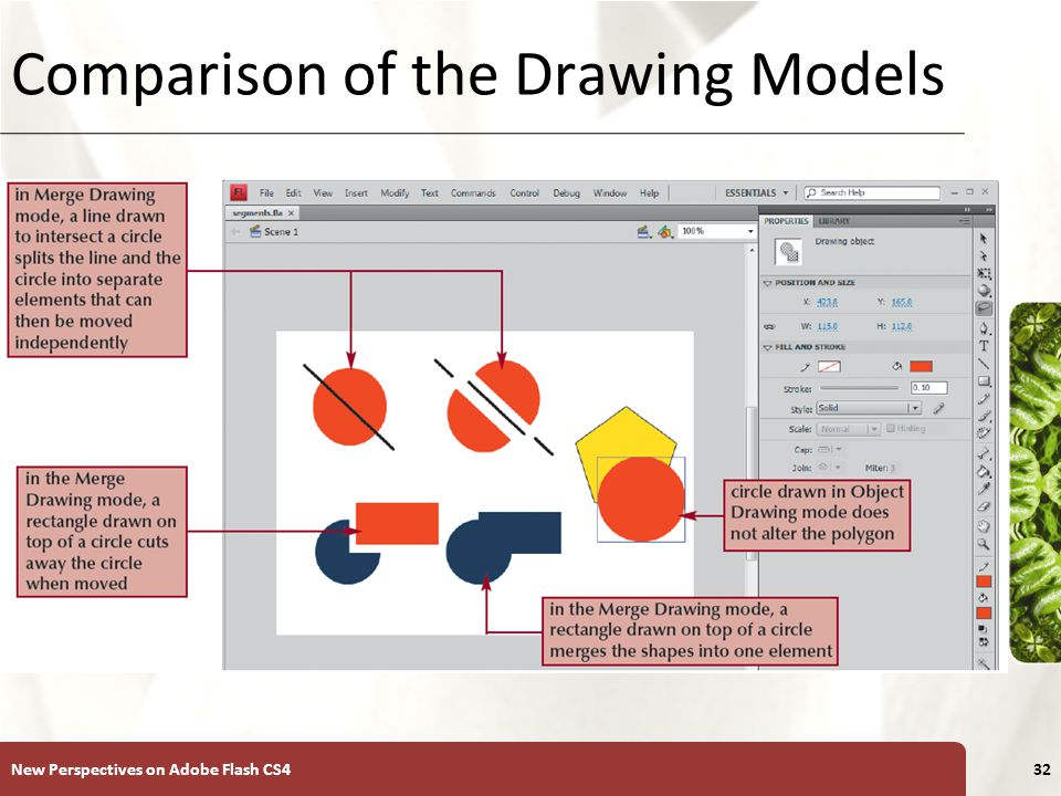 XP Comparison of the Drawing Models New Perspectives on Adobe Flash CS432