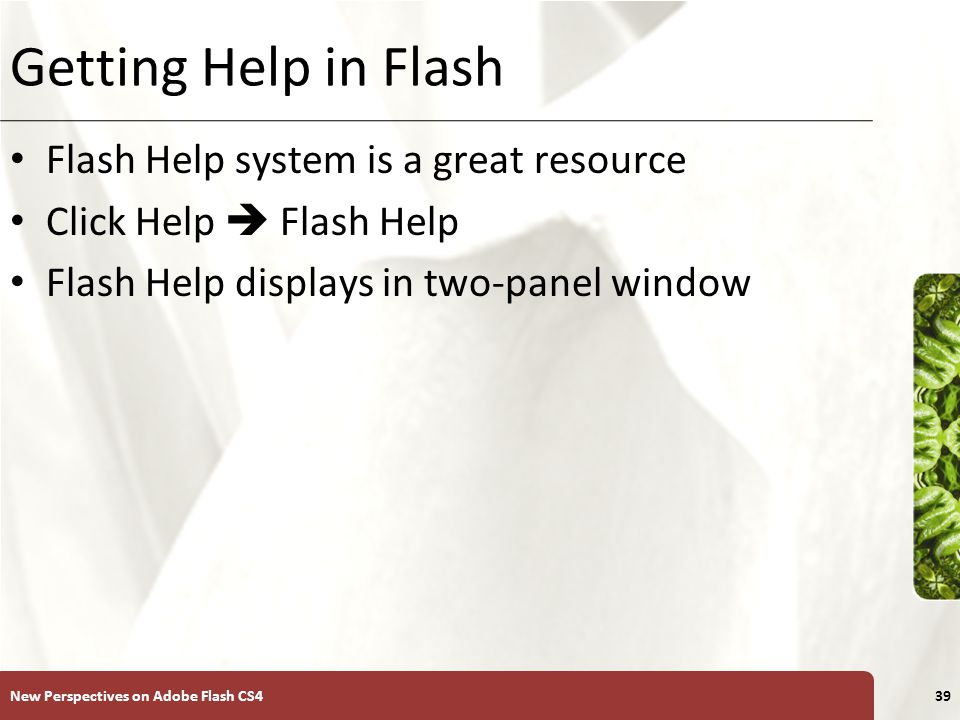 XP Getting Help in Flash Flash Help system is a great resource Click Help  Flash Help Flash Help displays in two-panel window New Perspectives on Adobe Flash CS439