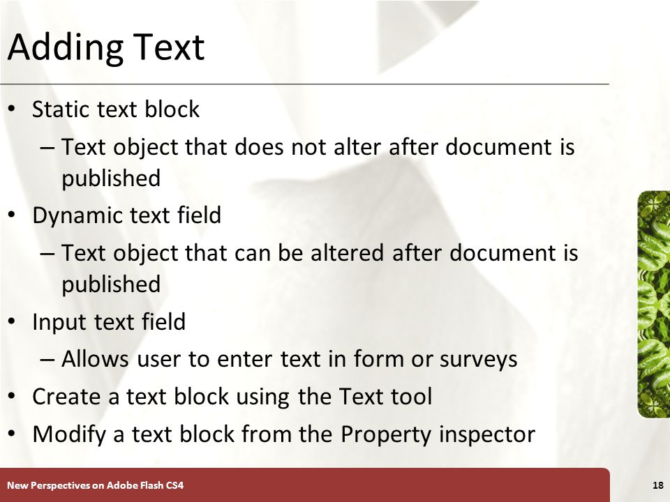 XP Adding Text Static text block – Text object that does not alter after document is published Dynamic text field – Text object that can be altered after document is published Input text field – Allows user to enter text in form or surveys Create a text block using the Text tool Modify a text block from the Property inspector New Perspectives on Adobe Flash CS418
