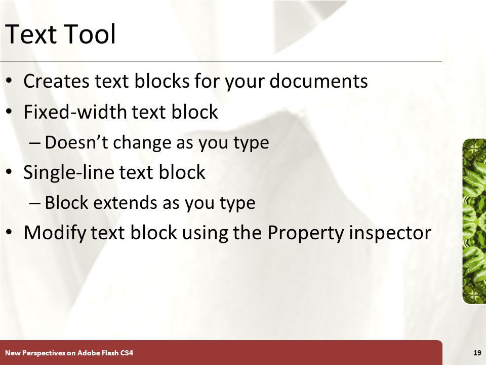 XP Text Tool Creates text blocks for your documents Fixed-width text block – Doesn't change as you type Single-line text block – Block extends as you type Modify text block using the Property inspector New Perspectives on Adobe Flash CS419