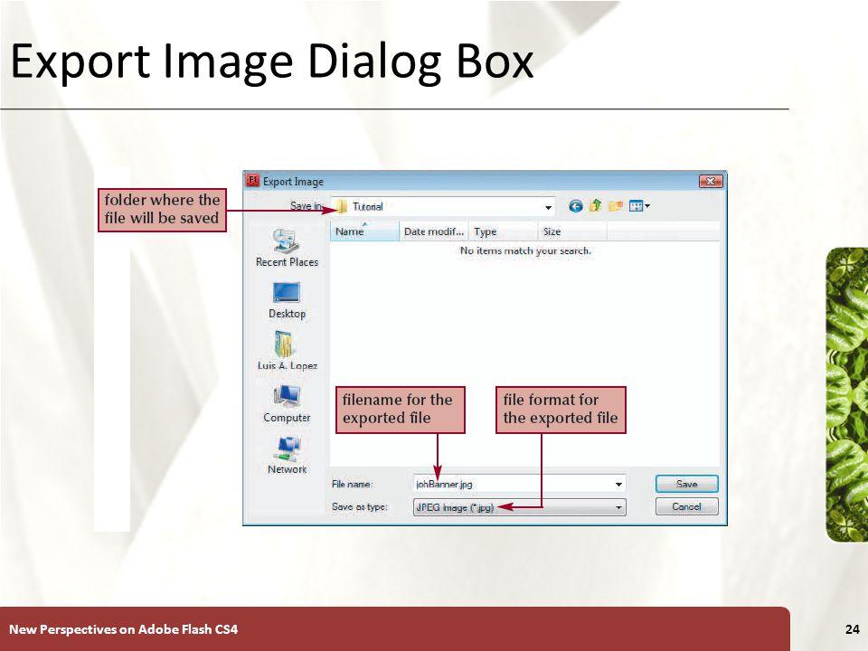 XP Export Image Dialog Box New Perspectives on Adobe Flash CS424