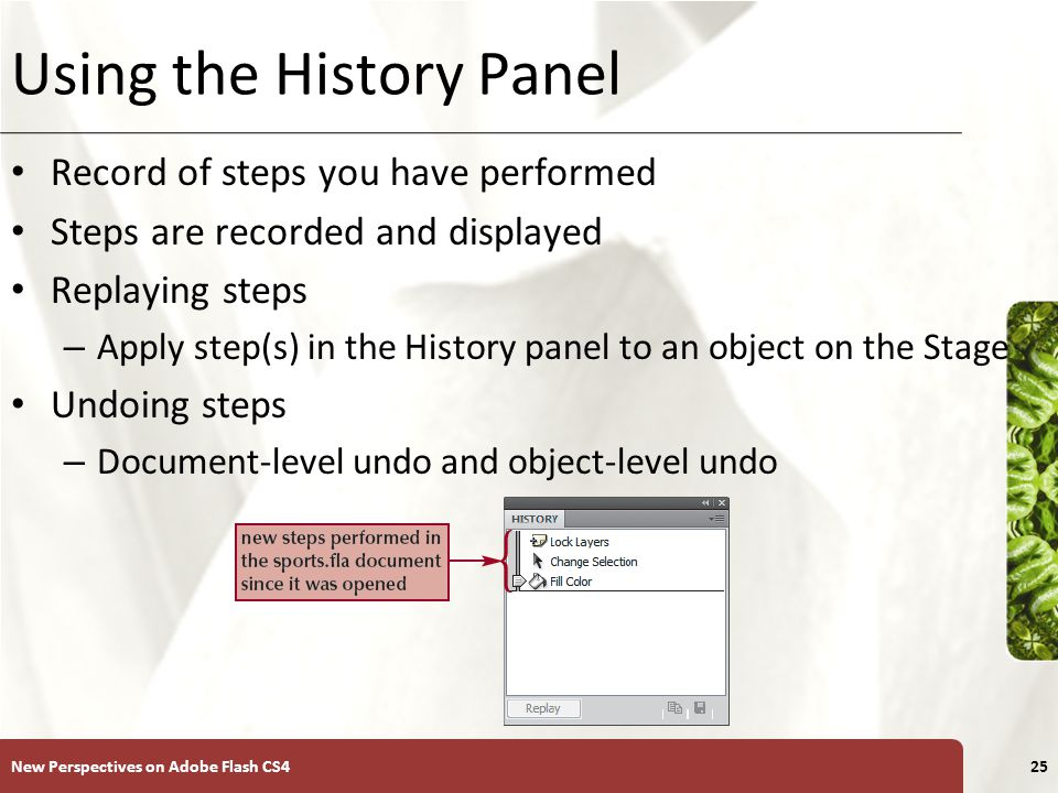 XP Using the History Panel Record of steps you have performed Steps are recorded and displayed Replaying steps – Apply step(s) in the History panel to an object on the Stage Undoing steps – Document-level undo and object-level undo New Perspectives on Adobe Flash CS425