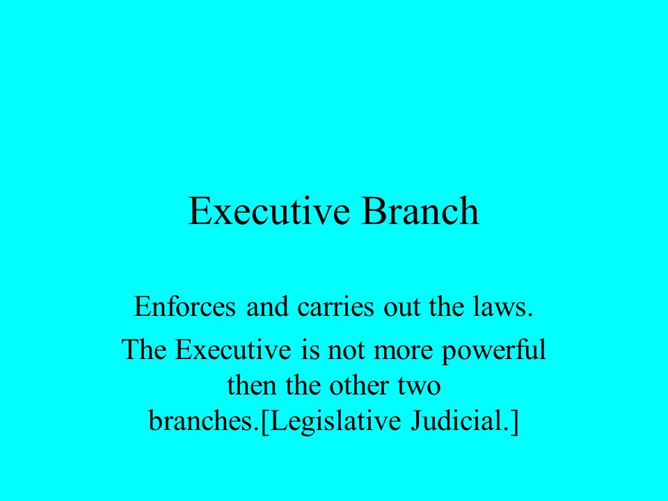 Executive Branch Enforces and carries out the laws. The Executive is not more powerful then the other two branches.[Legislative Judicial.]