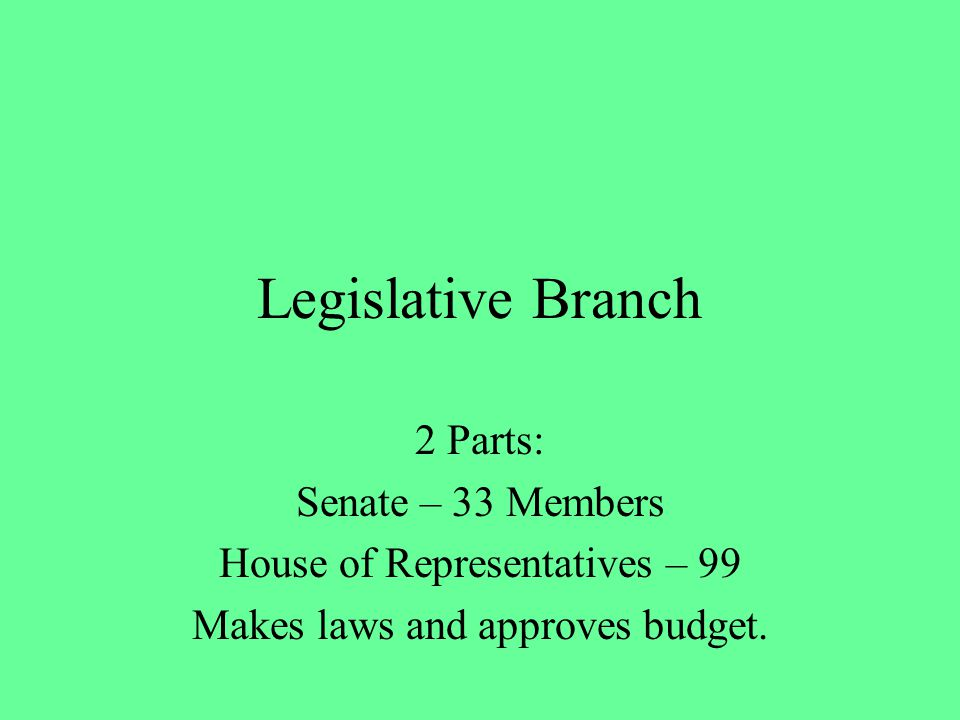 Legislative Branch 2 Parts: Senate – 33 Members House of Representatives – 99 Makes laws and approves budget.