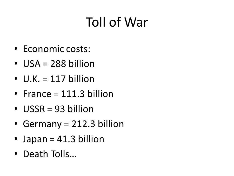 Toll of War Economic costs: USA = 288 billion U.K. = 117 billion France = 111.3 billion USSR = 93 billion Germany = 212.3 billion Japan = 41.3 billion