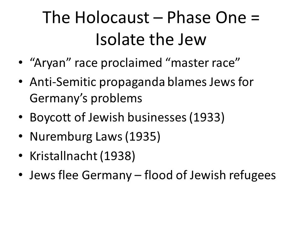 "The Holocaust – Phase One = Isolate the Jew ""Aryan"" race proclaimed ""master race"" Anti-Semitic propaganda blames Jews for Germany's problems Boycott o"