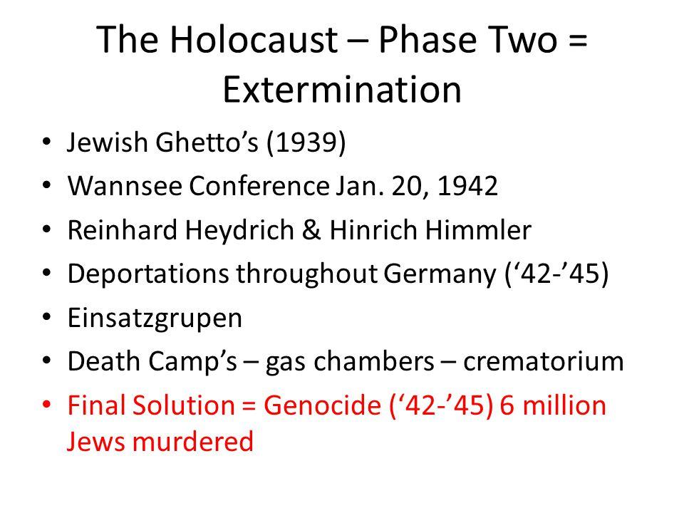 The Holocaust – Phase Two = Extermination Jewish Ghetto's (1939) Wannsee Conference Jan. 20, 1942 Reinhard Heydrich & Hinrich Himmler Deportations thr