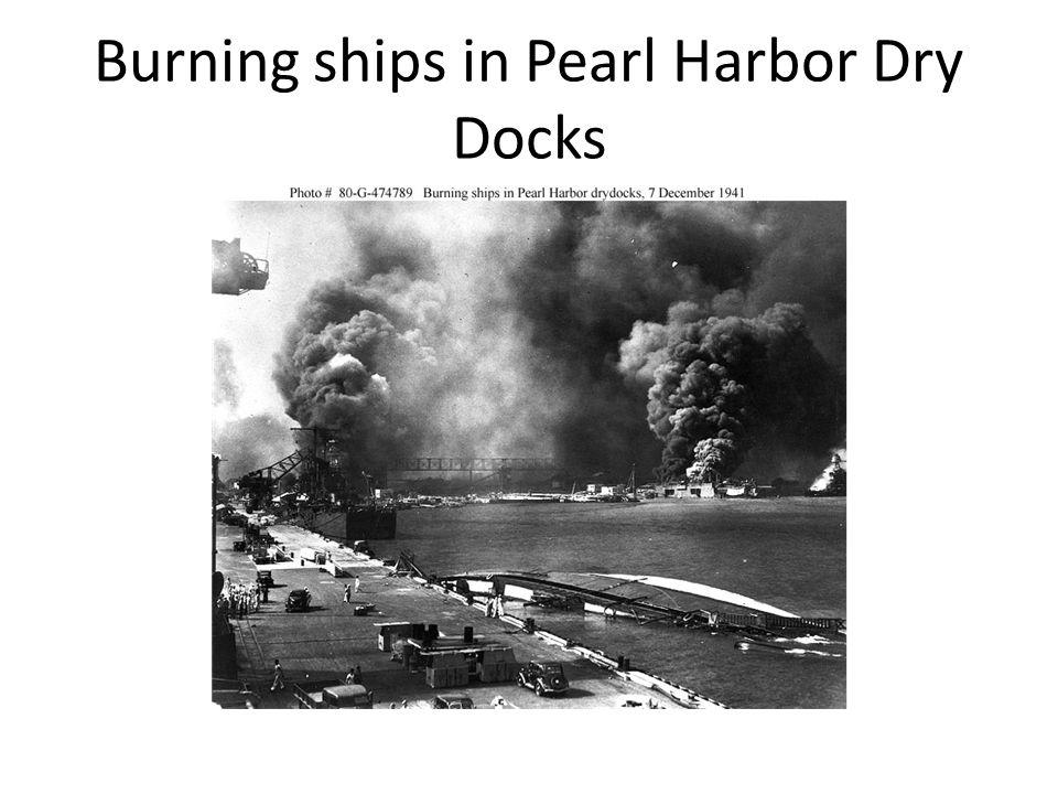 Burning ships in Pearl Harbor Dry Docks