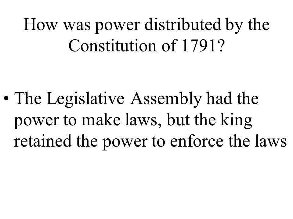 What is the legislative body created by the Constitution of 1791? Legislative Assembly
