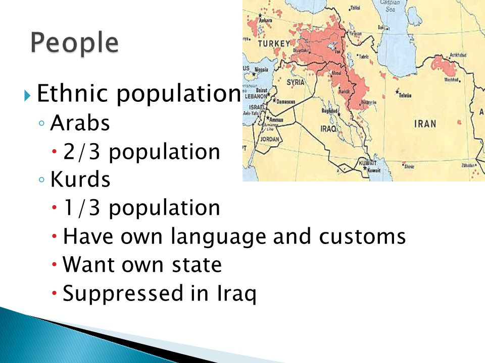  Ethnic population ◦ Arabs  2/3 population ◦ Kurds  1/3 population  Have own language and customs  Want own state  Suppressed in Iraq