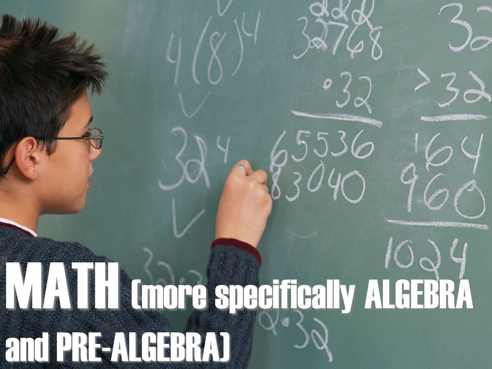 MATH (more specifically ALGEBRA and PRE-ALGEBRA)