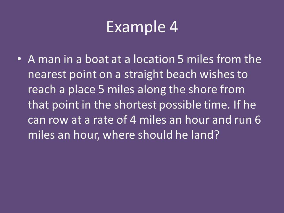 Example 4 A man in a boat at a location 5 miles from the nearest point on a straight beach wishes to reach a place 5 miles along the shore from that point in the shortest possible time.