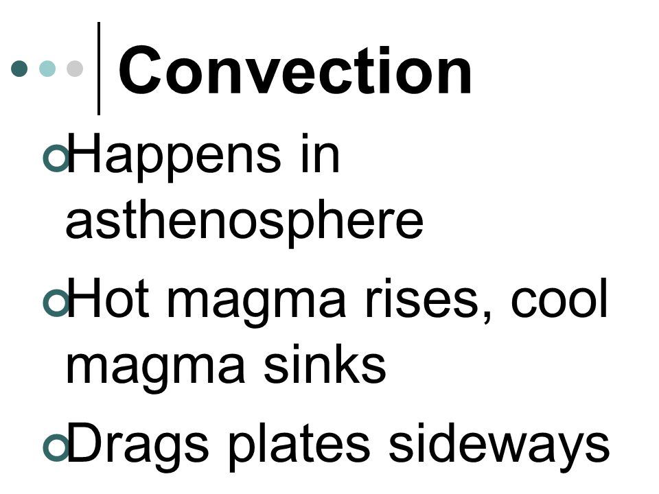 Convection Happens in asthenosphere Hot magma rises, cool magma sinks Drags plates sideways