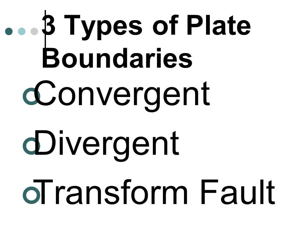 3 Types of Plate Boundaries Convergent Divergent Transform Fault