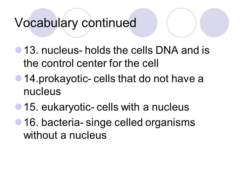 Vocabulary continued 13. nucleus- holds the cells DNA and is the control center for the cell 14.prokayotic- cells that do not have a nucleus 15. eukar