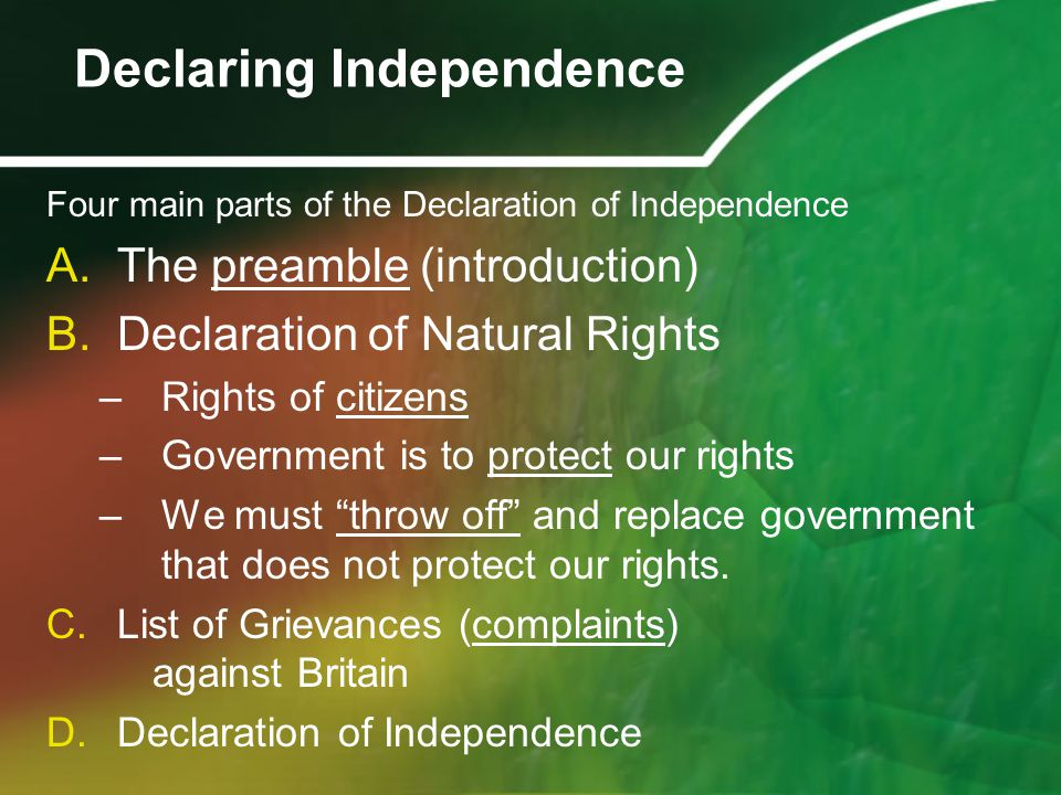 Four main parts of the Declaration of Independence A.The preamble (introduction) B.Declaration of Natural Rights –Rights of citizens –Government is to