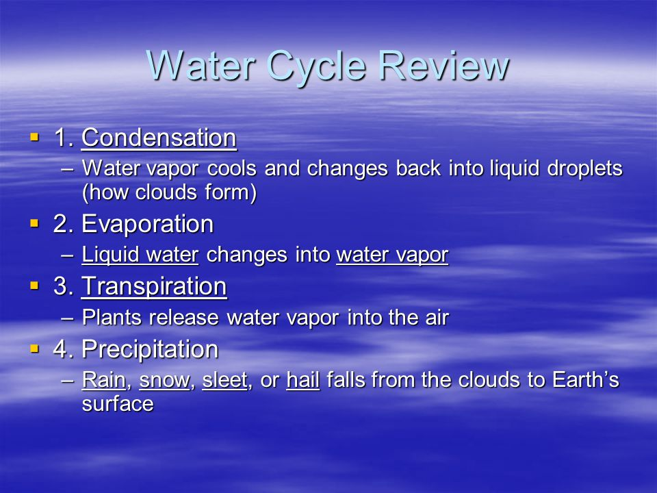 Water Cycle Review  1. Condensation –Water vapor cools and changes back into liquid droplets (how clouds form)  2. Evaporation –Liquid water changes
