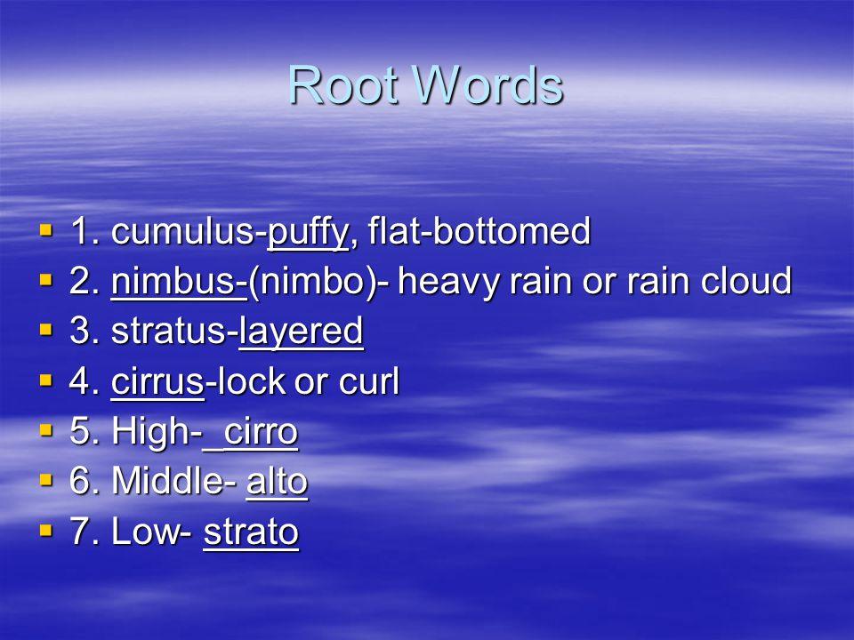 Root Words  1. cumulus-puffy, flat-bottomed  2. nimbus-(nimbo)- heavy rain or rain cloud  3. stratus-layered  4. cirrus-lock or curl  5. High-_ci