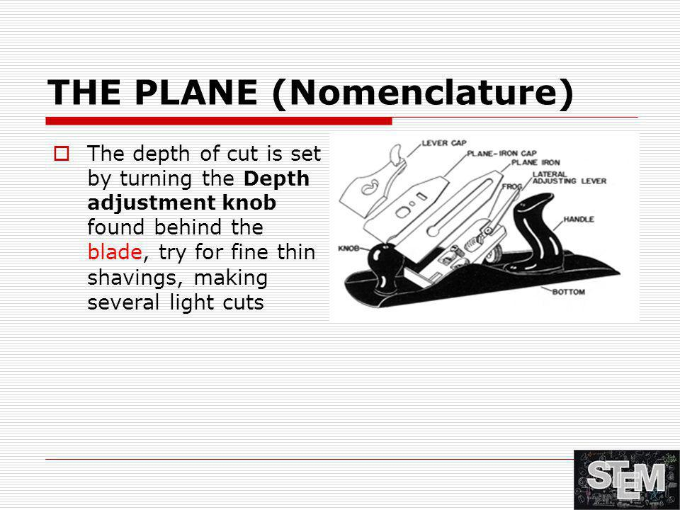 THE PLANE (Nomenclature)  The depth of cut is set by turning the Depth adjustment knob found behind the blade, try for fine thin shavings, making sev