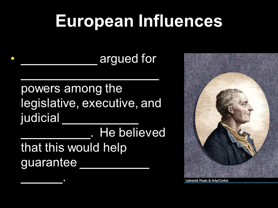 European Influences ___________ argued for ____________________ powers among the legislative, executive, and judicial ___________ __________.