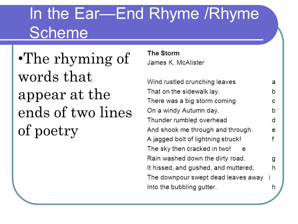 In the Ear—End Rhyme /Rhyme Scheme The Storm James K. McAlister Wind rustled crunching leaves a That on the sidewalk lay. b There was a big storm comi