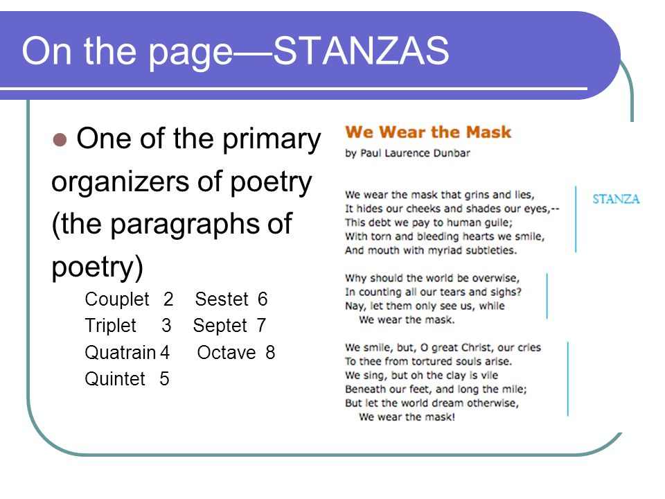On the page—STANZAS One of the primary organizers of poetry (the paragraphs of poetry) Couplet 2 Sestet 6 Triplet 3 Septet 7 Quatrain 4 Octave 8 Quintet 5
