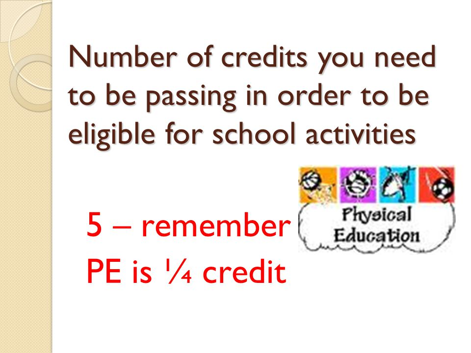 Number of credits you need to be passing in order to be eligible for school activities 5 – remember PE is ¼ credit