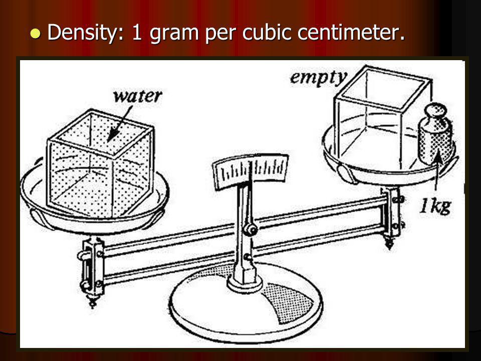 Density: 1 gram per cubic centimeter. Density: 1 gram per cubic centimeter.
