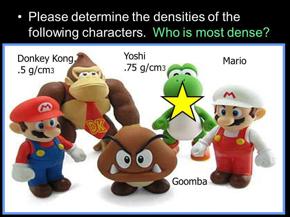 Please determine the densities of the following characters.