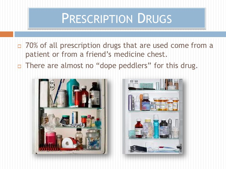P RESCRIPTION D RUGS  70% of all prescription drugs that are used come from a patient or from a friend's medicine chest.