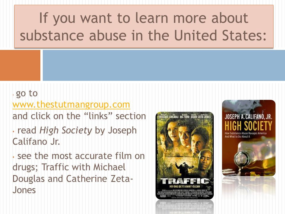 go to www.thestutmangroup.com and click on the links section www.thestutmangroup.com read High Society by Joseph Califano Jr.