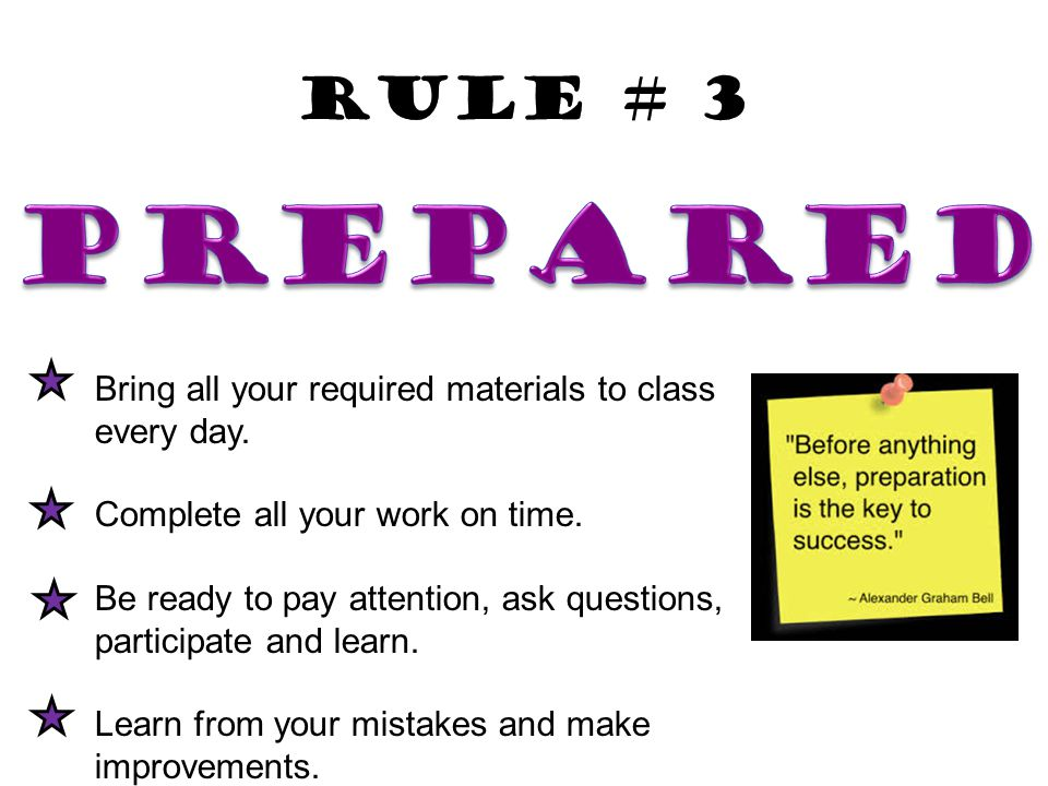 Bring all your required materials to class every day. Complete all your work on time. Be ready to pay attention, ask questions, participate and learn.