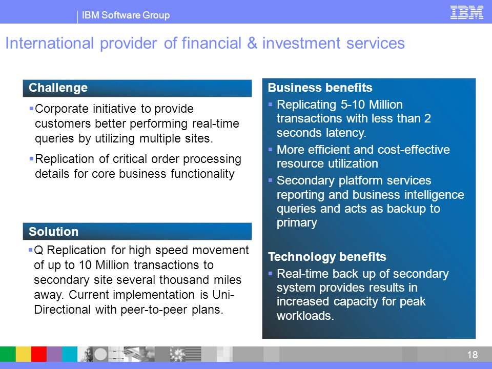 IBM Software Group 18 International provider of financial & investment services  Corporate initiative to provide customers better performing real-time queries by utilizing multiple sites.