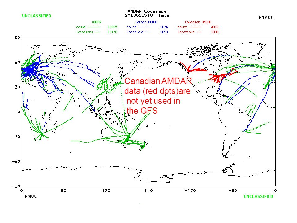 Canadian AMDAR data (red dots)are not yet used in the GFS