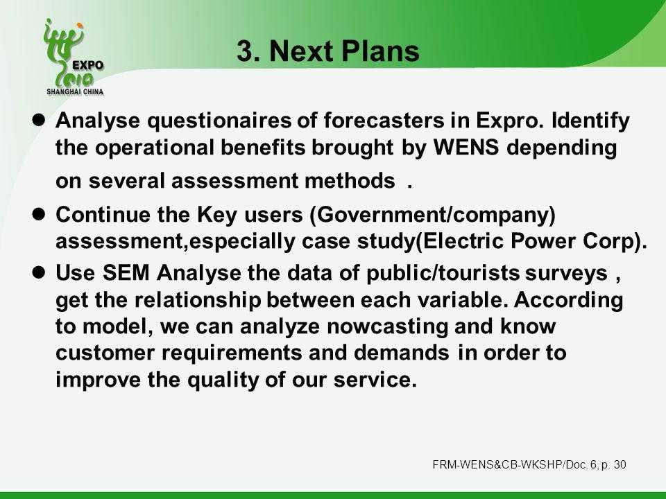 FRM-WENS&CB-WKSHP/Doc. 6, p. 30 3. Next Plans Analyse questionaires of forecasters in Expro.