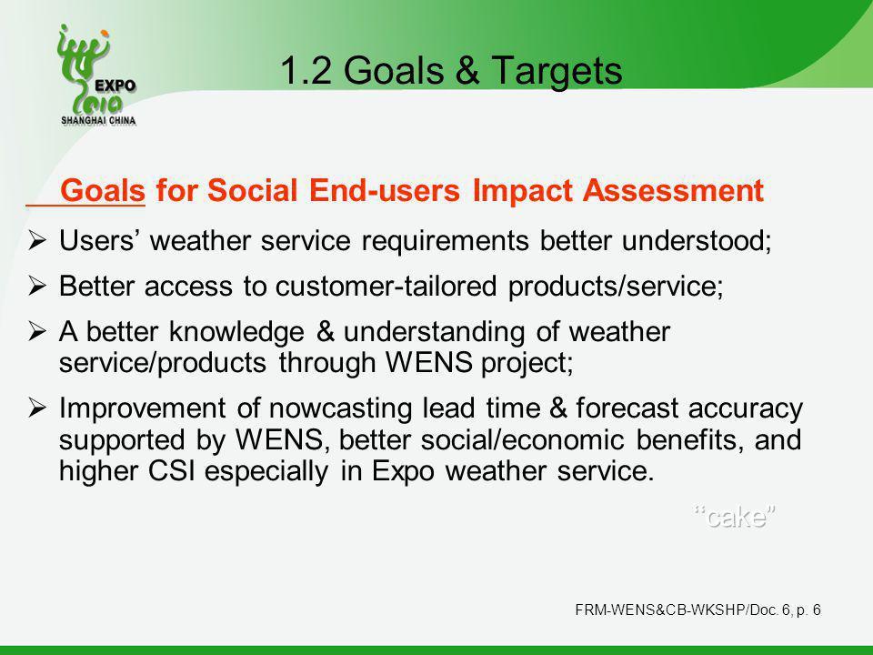 FRM-WENS&CB-WKSHP/Doc. 6, p. 6 1.2 Goals & Targets