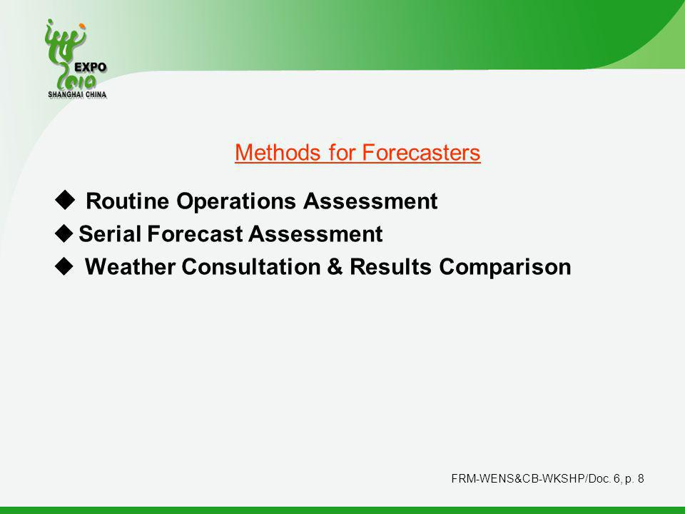 FRM-WENS&CB-WKSHP/Doc.6, p. 9 Forecaster Routine Products Forecast result No.