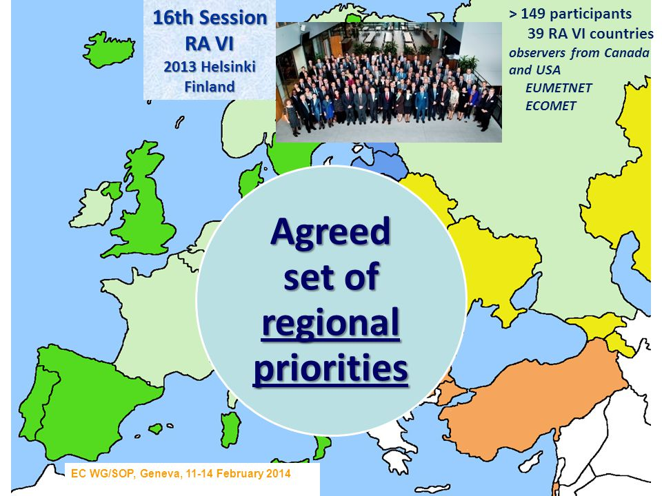 16 th Session RA VI (Europe) Regional Priorities (Doc.7.2)  Coping with issues related to the economic conditions affecting the NMHSs: constant pressure for budget and staff cuts, insufficient qualified personnel, difficulties to maintain and sustain basic functions, due to lack of resources  Enhancement of Climate Services - implementation of GFCS at regional and national level  Implementation of WIGOS and WIS (noting that WIS implementation has already been in progress), including focus on concrete and urgent needs related to the maintenance and improvement of the observing systems and the quality of observations  Enhancement of Services: PWS, DRR/EWS, aviation and related services as well as demonstration and communication of the resulting social and economic benefits, in particular to decision makers / Government  Enhanced international cooperation and partnership: raising the effectiveness and efficiency of the regional activities, building common position on issues like data policy, commercialization and public/private sector relationships EC WG/SOP, Geneva, 11-14 February 2014 Helsinki 10 – 17 September 2013