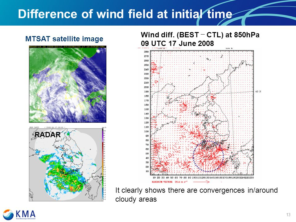 마스터 제목 스타일 편집 Difference of wind field at initial time Wind diff.