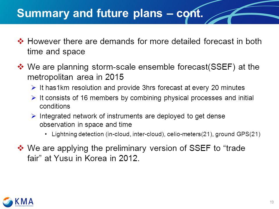 마스터 제목 스타일 편집 Summary and future plans – cont.