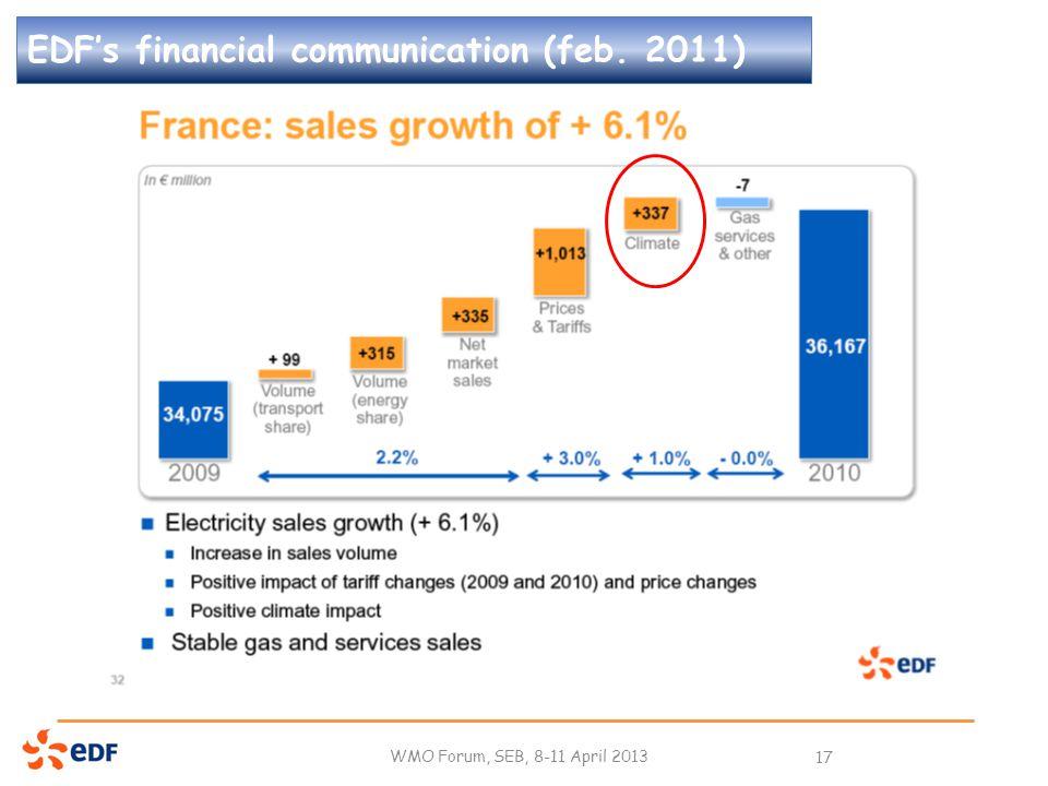 EDF's financial communication (feb. 2011) 17 WMO Forum, SEB, 8-11 April 2013