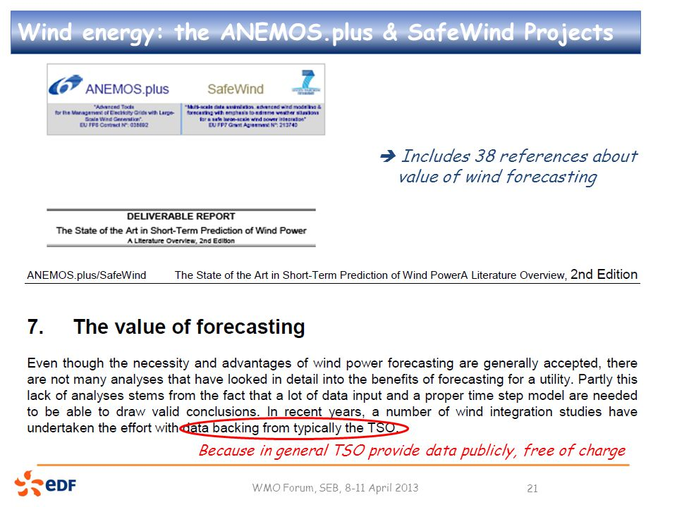 Wind energy: the ANEMOS.plus & SafeWind Projects WMO Forum, SEB, 8-11 April 2013 21  Includes 38 references about value of wind forecasting Because in general TSO provide data publicly, free of charge