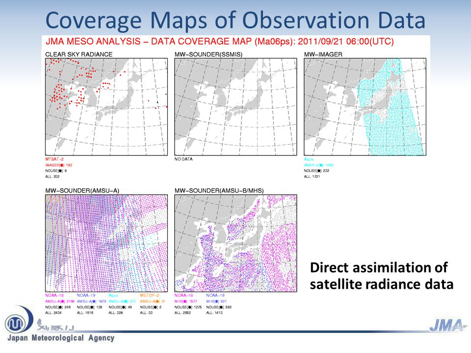 Coverage Maps of Observation Data Direct assimilation of satellite radiance data