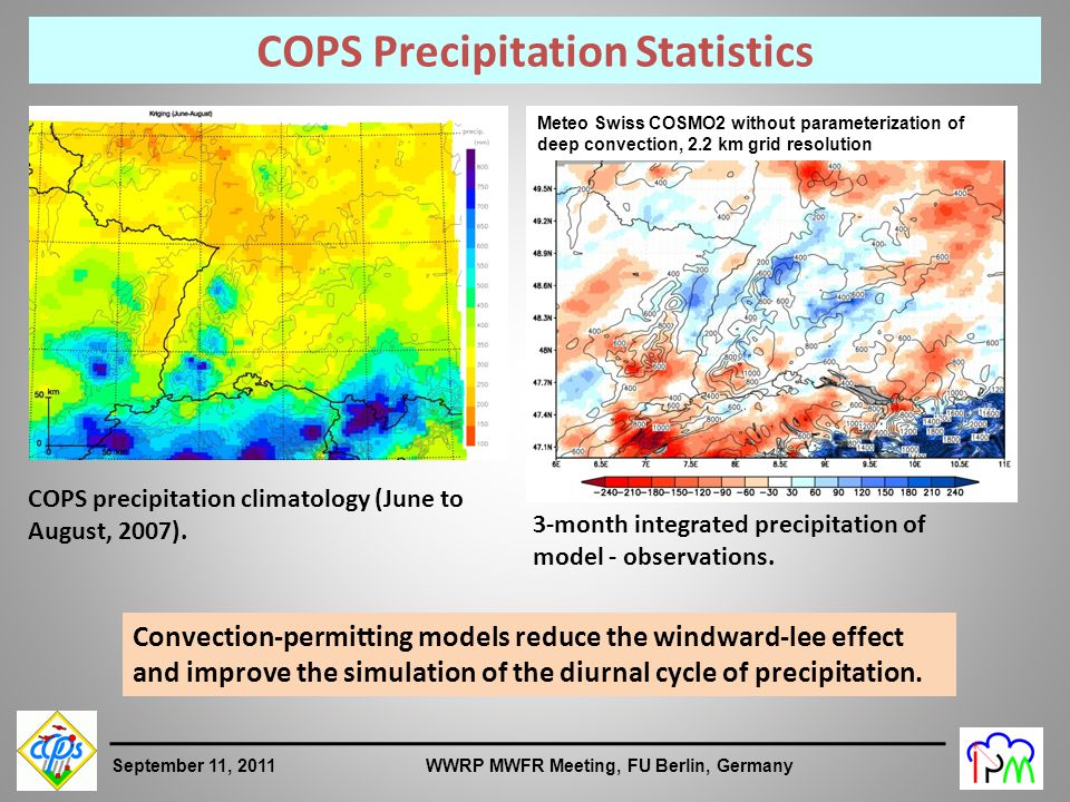 9 September 11, 2011 WWRP MWFR Meeting, FU Berlin, Germany Meteo Swiss COSMO7 with parameterization of deep convection, 7-km grid resolution Meteo Swiss COSMO2 without parameterization of deep convection, 2.2 km grid resolution COPS Precipitation Statistics COPS precipitation climatology (June to August, 2007).