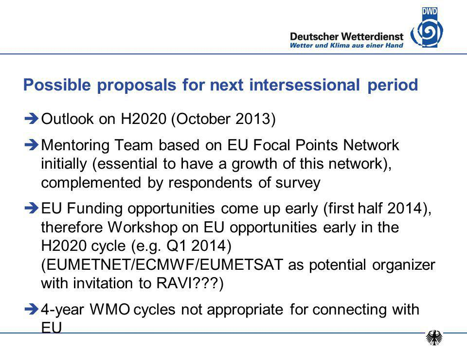 Possible proposals for next intersessional period  Outlook on H2020 (October 2013)  Mentoring Team based on EU Focal Points Network initially (essential to have a growth of this network), complemented by respondents of survey  EU Funding opportunities come up early (first half 2014), therefore Workshop on EU opportunities early in the H2020 cycle (e.g.