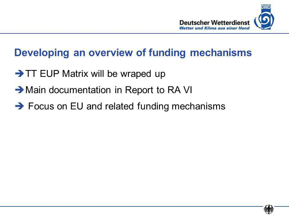 Developing an overview of funding mechanisms  TT EUP Matrix will be wraped up  Main documentation in Report to RA VI  Focus on EU and related funding mechanisms