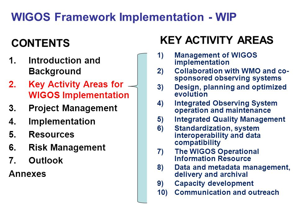 WIGOS Framework Implementation - WIP CONTENTS 1.Introduction and Background 2.Key Activity Areas for WIGOS Implementation 3.Project Management 4.Implementation 5.Resources 6.Risk Management 7.Outlook Annexes KEY ACTIVITY AREAS 1)Management of WIGOS implementation 2)Collaboration with WMO and co- sponsored observing systems 3)Design, planning and optimized evolution 4)Integrated Observing System operation and maintenance 5)Integrated Quality Management 6)Standardization, system interoperability and data compatibility 7)The WIGOS Operational Information Resource 8)Data and metadata management, delivery and archival 9)Capacity development 10)Communication and outreach