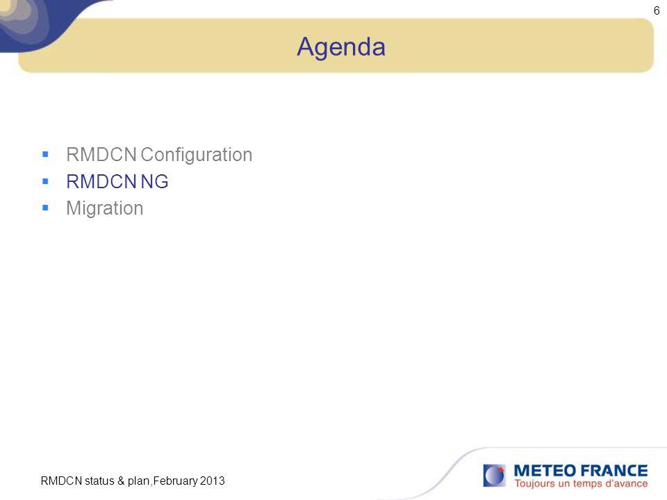 RMDCN status & plan,February 2013 6 Agenda  RMDCN Configuration  RMDCN NG  Migration