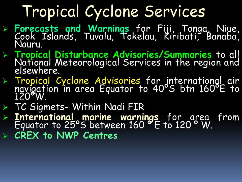 Tropical Cyclone Services  Forecasts and Warnings for Fiji, Tonga, Niue, Cook Islands, Tuvalu, Tokelau, Kiribati, Banaba, Nauru.